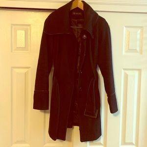 INC Black Classic Winter Pea Coat Size Medium